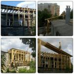 Строительство деревянного каркаса над пристройкой